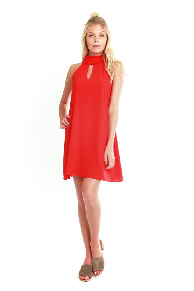 Red Keyhole Shift Dress, Dresses