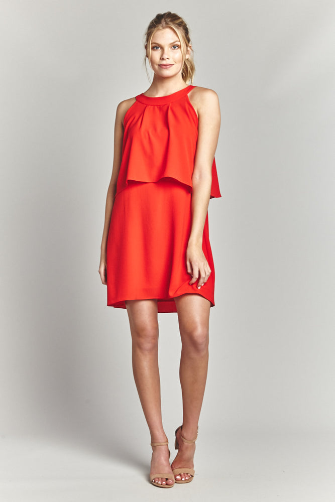 Tomato Overlay Sheath Dress