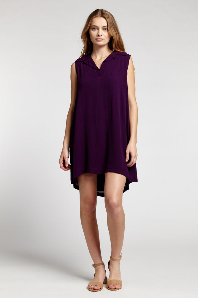 Purple Sleeveless Swingy Shirtdress