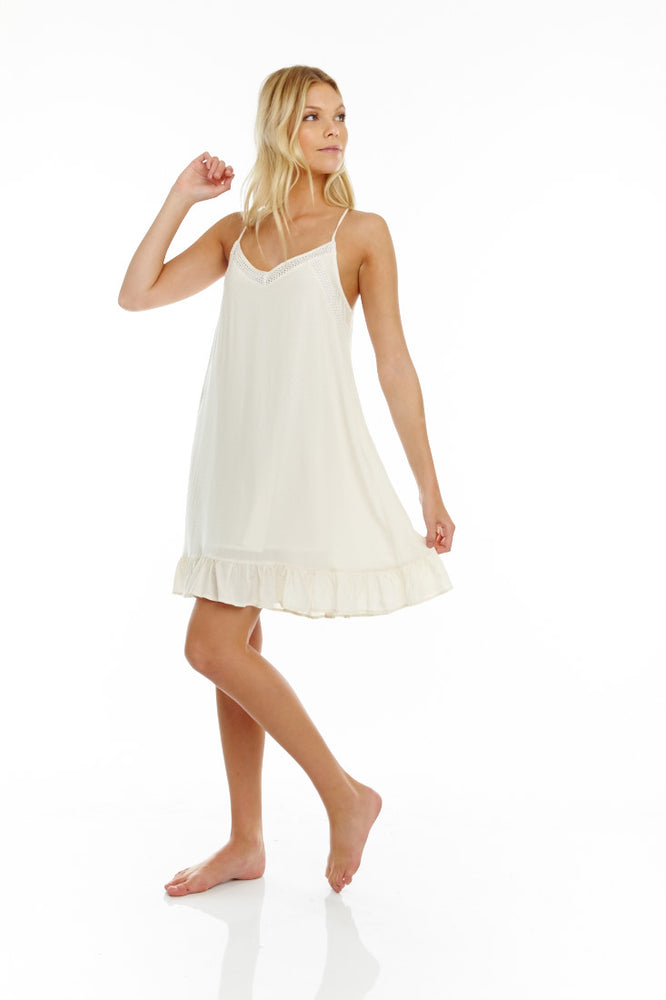 Ivory Slip Dress w/ inset trim and ruffle bottom Prepack
