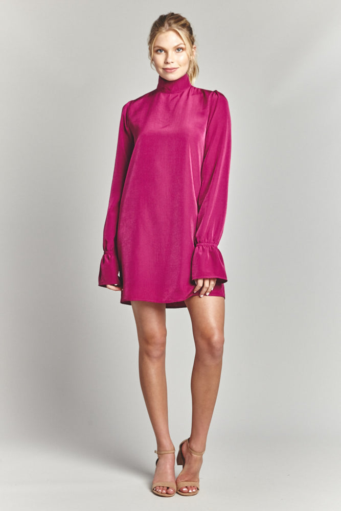 Magenta Long Sleeve Dress