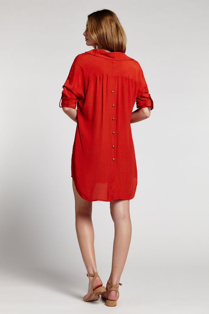 VC Rust Oversize Button Back Long Sleeve Collared Shirt Dress Prepack