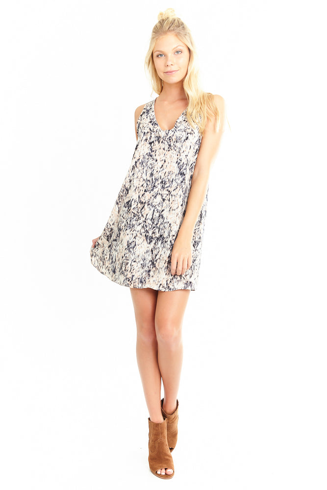 Blur Ikat V Neck Shift Dress, Dresses