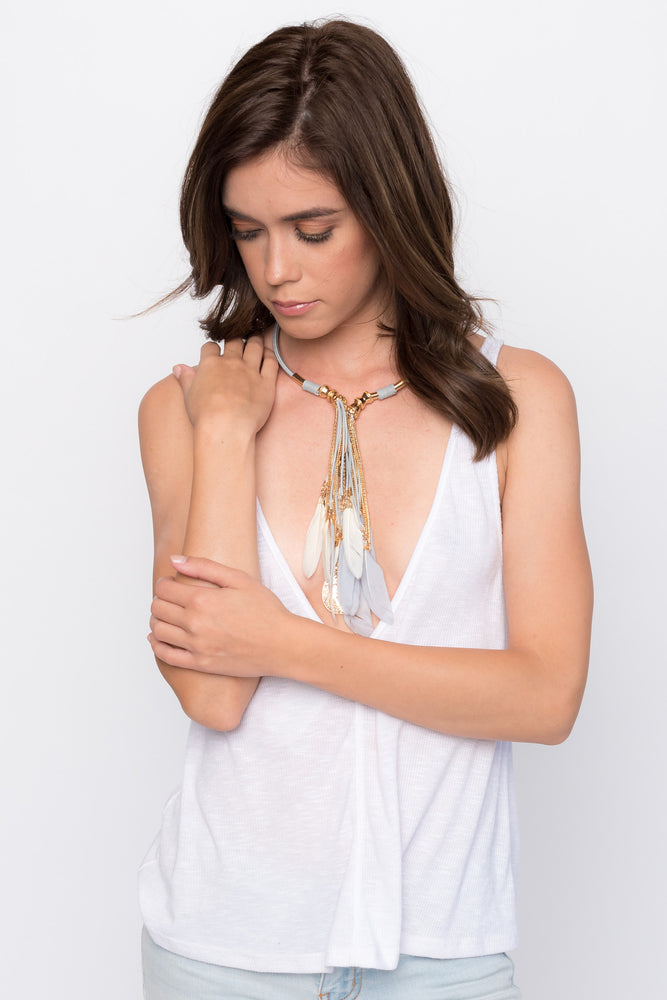 """Cleopatra"" Grey Collarbone Feather Necklace"
