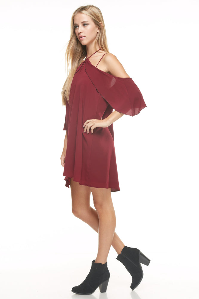 Wine Shoulder Action Dress