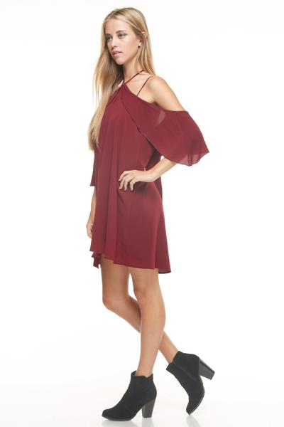 Red Multi Off Shoulder dress with Sleeve