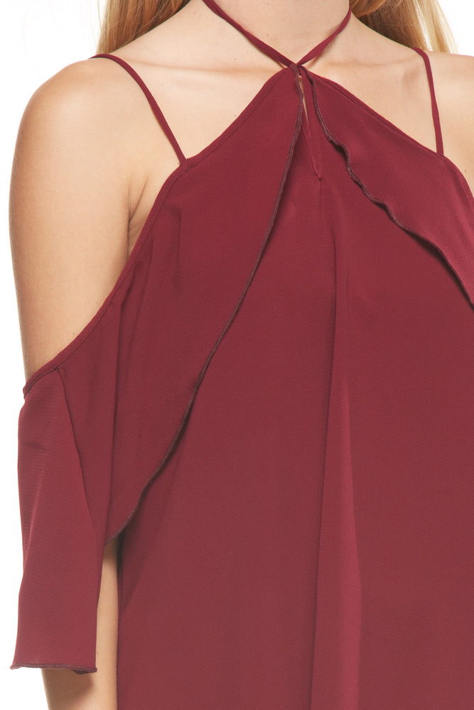 Wine Shoulder Action Dress, Dresses