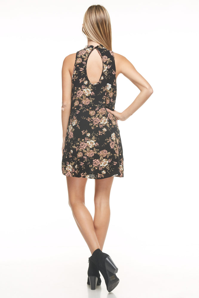Floral High Neck Sleeveless Dress, Dresses