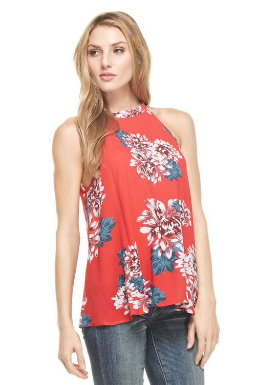 Red Floral Tie Back Halter