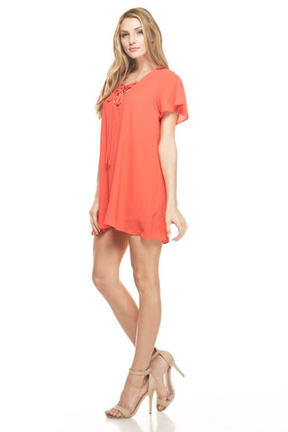 Lace Up Short Sleeve Dress in Coral
