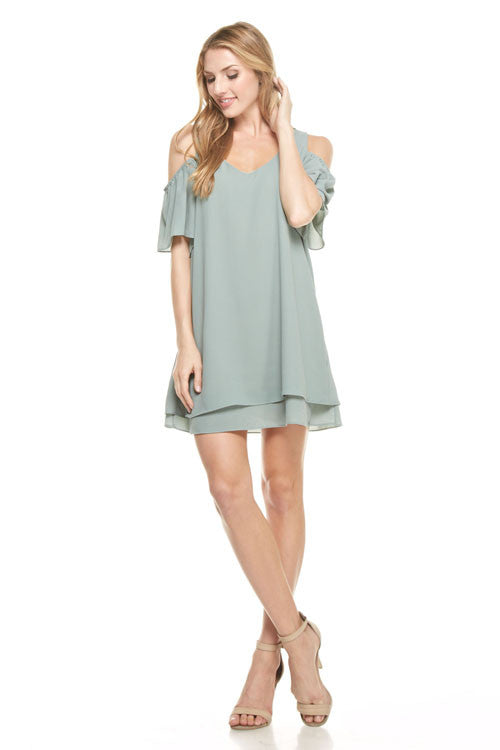 Sage Cold Shoulder Dress, Dresses