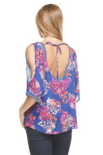 Neon Floral Cold Shoulder Tie Back Blouse, Tops