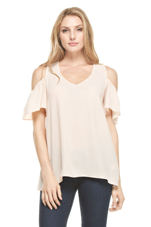 Cold Shoulder Short Sleeve Blouse, Tops