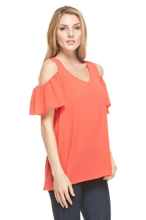 Cold Shoulder Blouse in Coral, Tops
