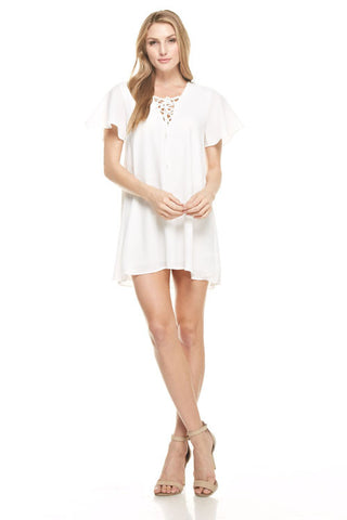 Lace Up Short Sleeve Dress in White