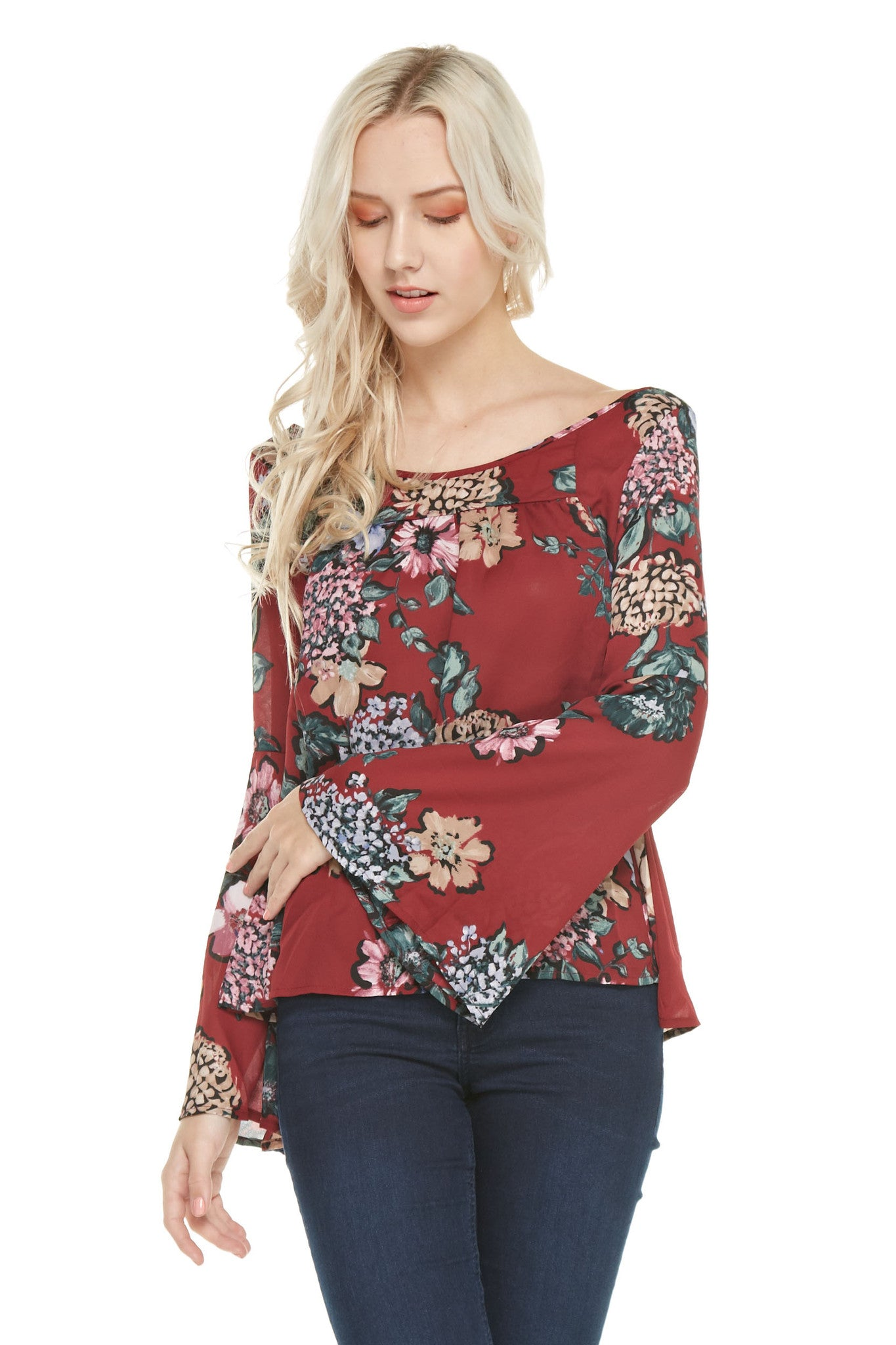 Shirred Front Long Sleeve Top, Tops