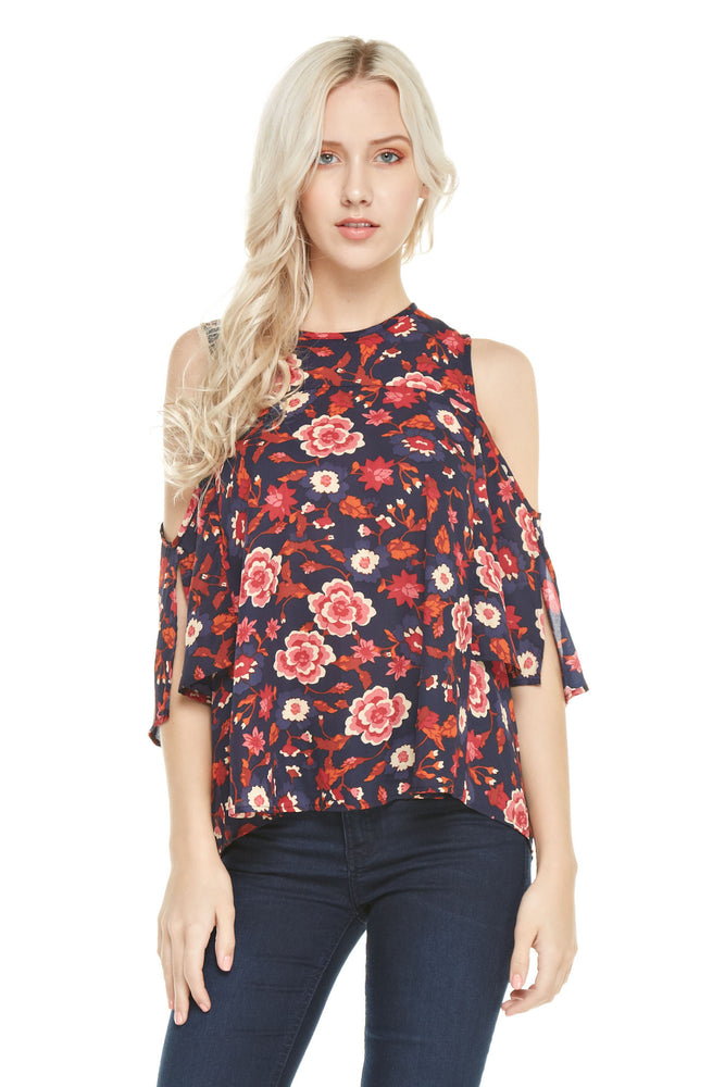 Cold Shoulder Short Sleeve Top, Tops