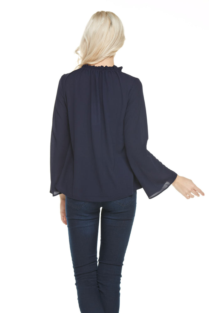 Ruffle Neck Tie Blouse, Tops