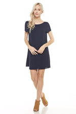 Navy Scoop Back Dress