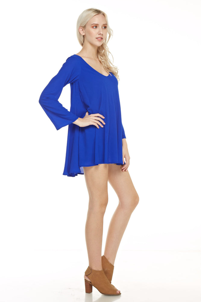 Long Sleeve V Neck Trapeze Dress, Dresses