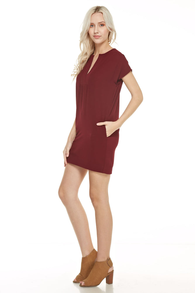 Short Sleeve V Neck Dress, Dresses