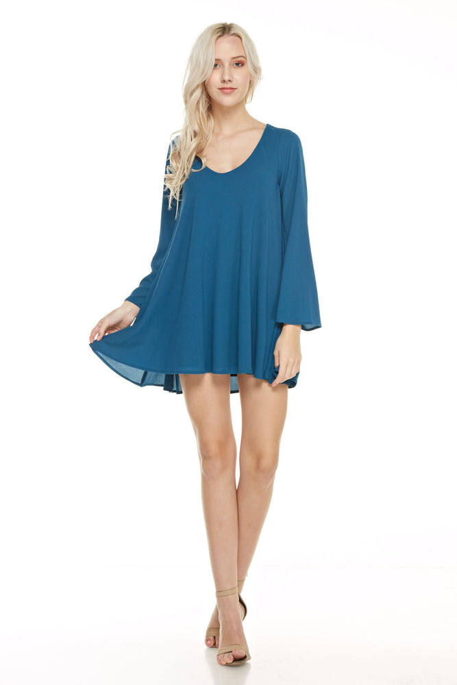 Long Sleeve V Neck Trapeze dress