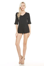 Black Mini Front Tie Romper, Dresses