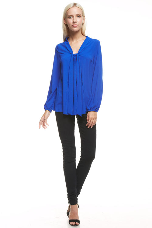 Neon Royal Knot Front Blouse, Tops