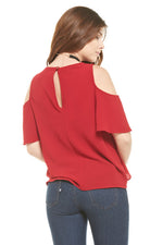Red Cold Shoulder Cross Ruffle Top, Tops