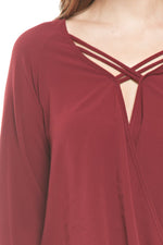 Maroon Long Sleeve Criss Cross Blouse, Tops
