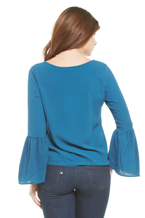 Peacock Bell Sleeve Blouse