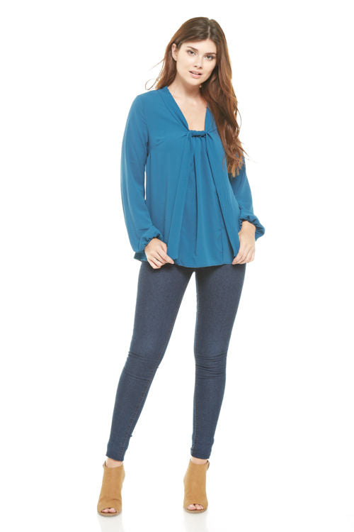 Peacock Knot Front Blouse, Tops