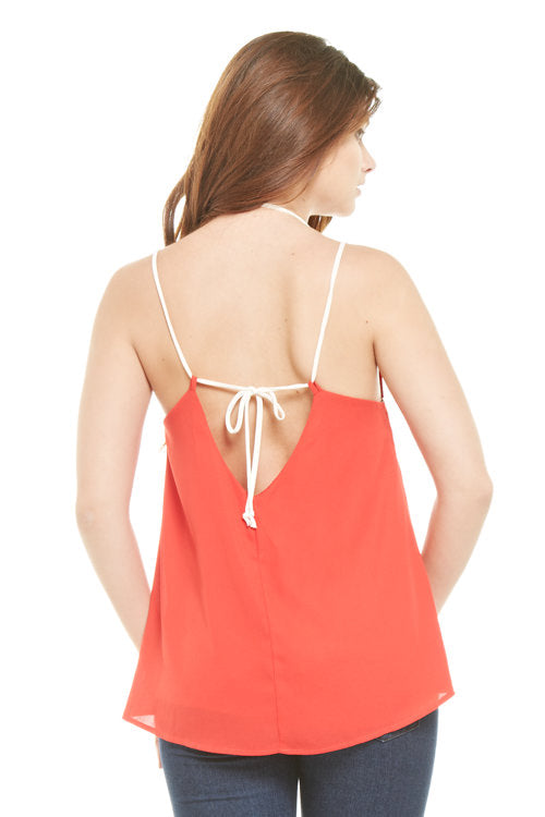 Bright Red Tie Back Tank, sale