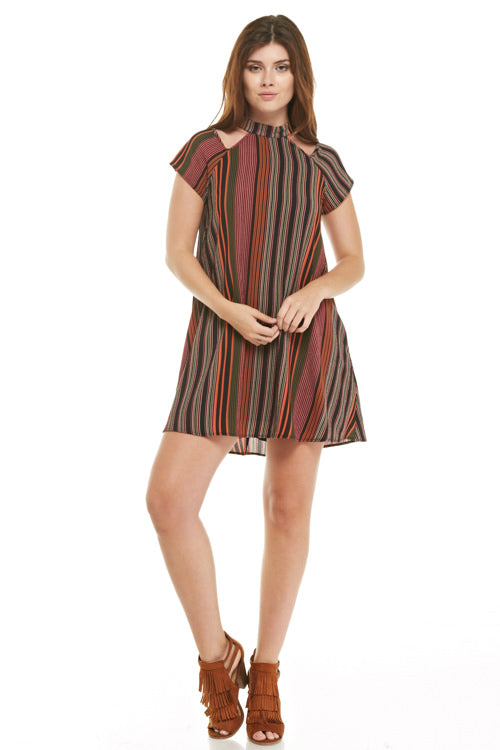 Autumn Stripe Cutout Dress, Dresses