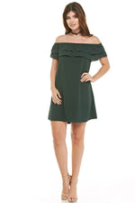 Hunter Green Off Shoulder Dress