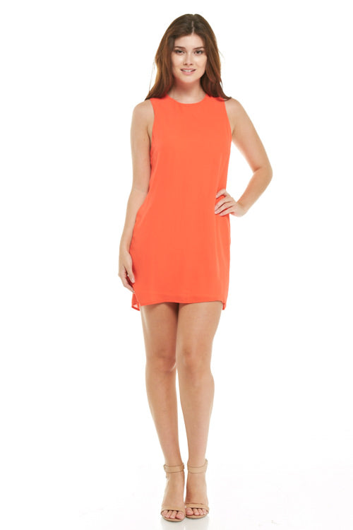 Orange Sleeveless Zipper Back Shift Dress