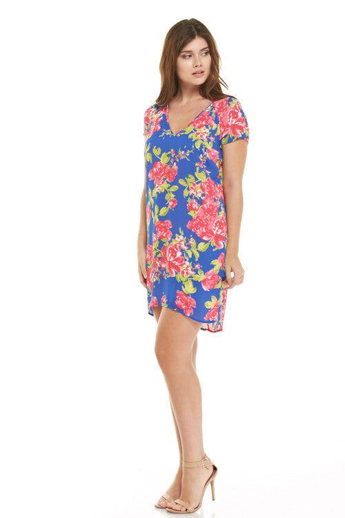 Rose Floral Sheath Dress with Open Back