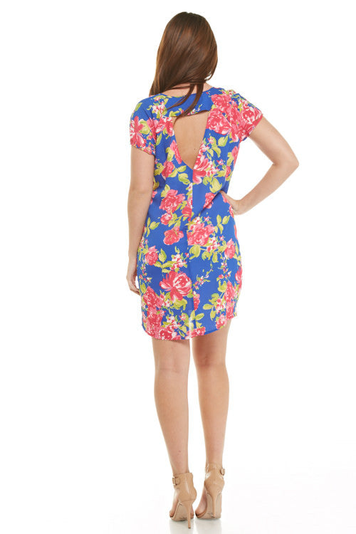 Rose Floral Sheath Dress with Open Back, Dresses