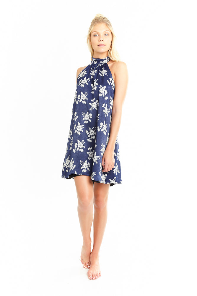 Blue Floral Halter Dress, Dresses
