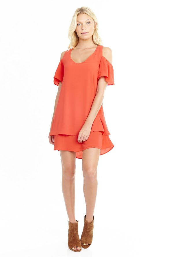 Coral Vneck Cold Shoulder Flutter Sleeve Dress