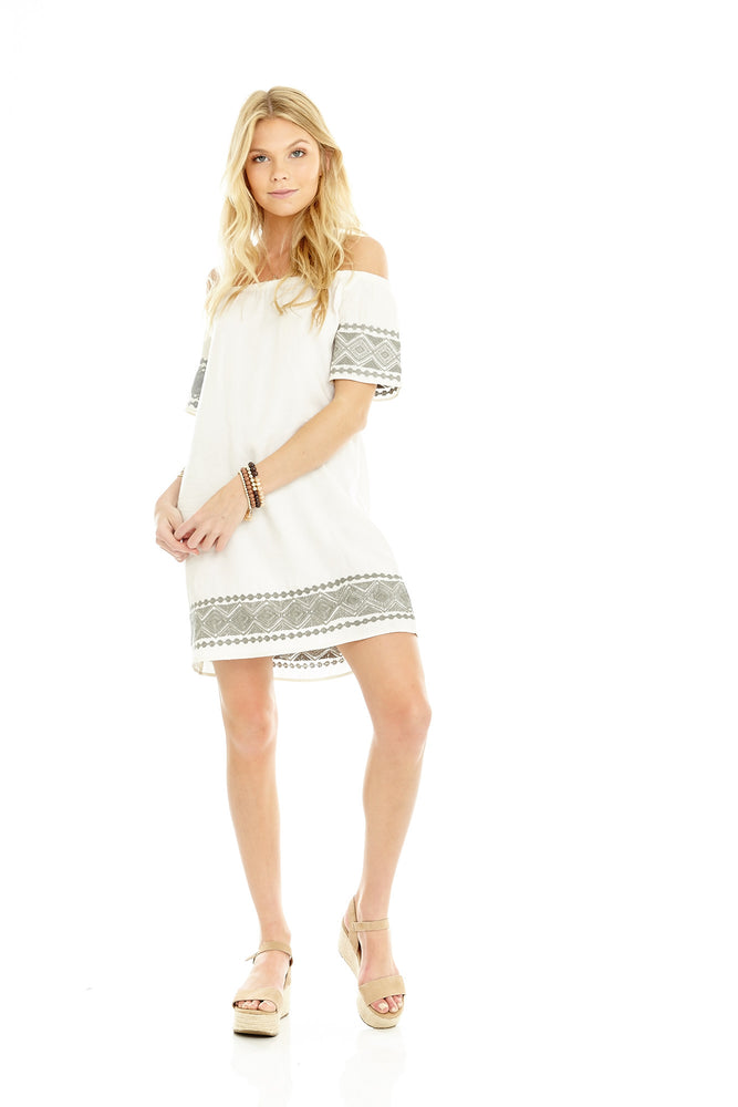 White/Sage Embroidered Dress