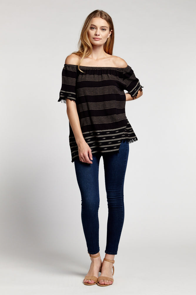 ELARA Mer + Lune Off Shoulder Capsleeve Top with Fringe Detail