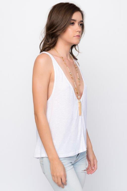 """Athena"" Neutral Double Chain Tassel Necklace"