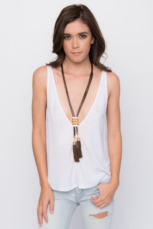"""Mumbai"" Brown Tassel Necklace, Jewelry"