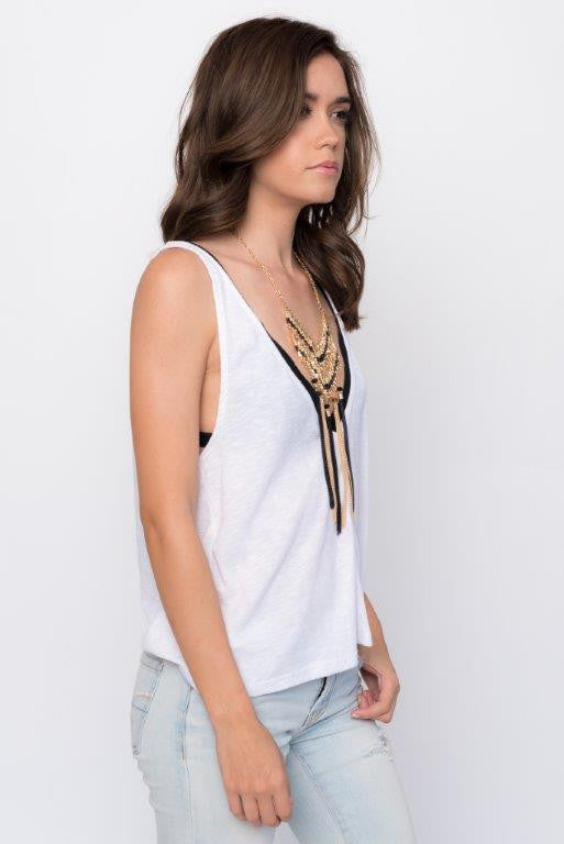 """Tel Aviv"" Black Chain Tassel Necklace"