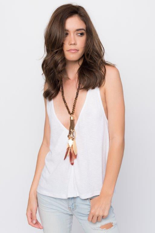 """Oslo"" Brown Beaded Feather Necklace"