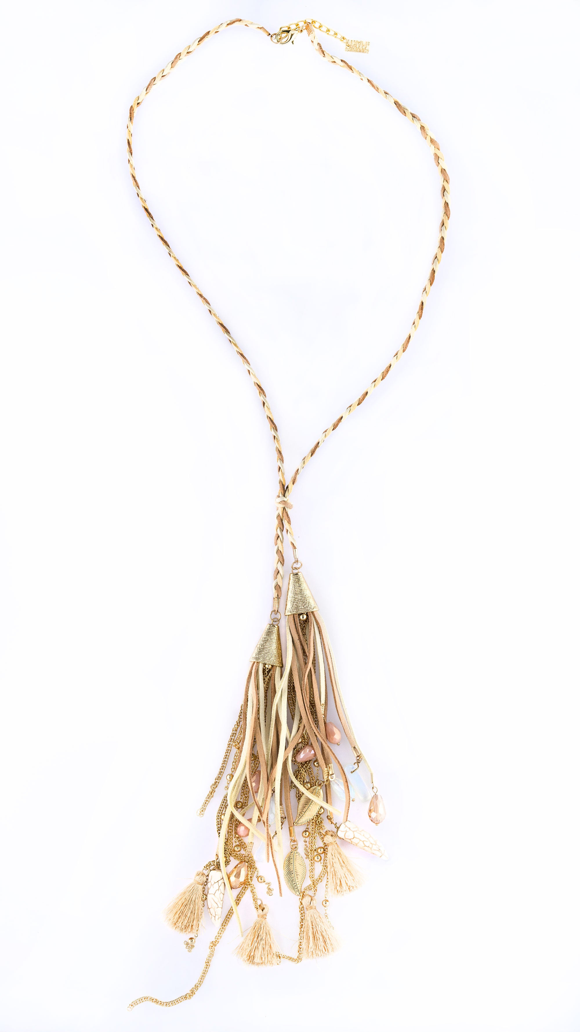 """Rhae"" Neutral Braided Tassel Necklace"