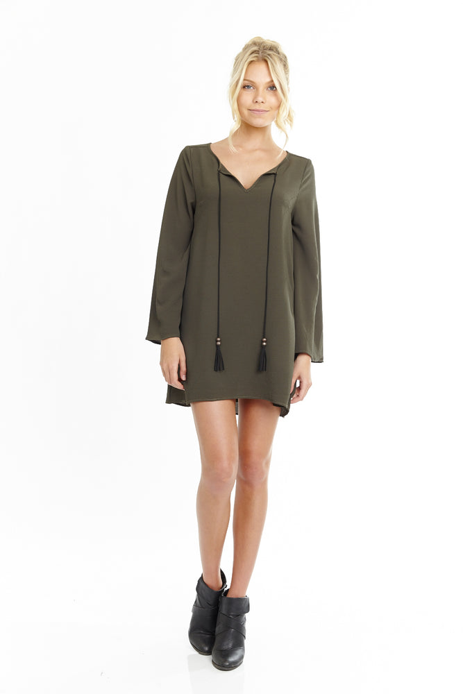 Long Sleeve Tassel Shift Dress in Olive