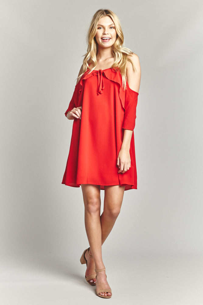 Cherry Shoulder Action Dress