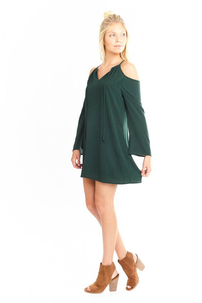 Cold Shoulder Long Sleeve Dress, Dresses